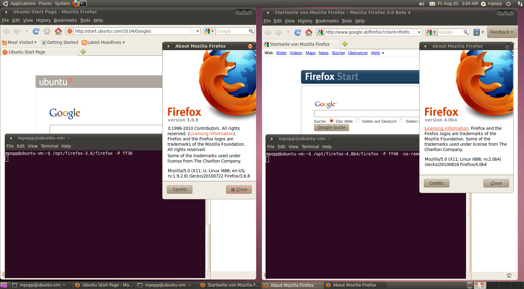 Running multiple Firefox versions & profiles at the same