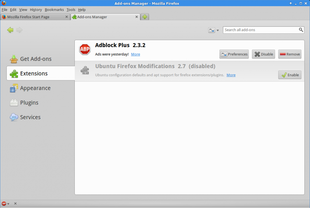 Firefox 23 with Adblock Plus